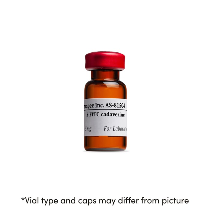 Bottle of 5-FITC cadaverine (5-((5-Aminopentyl)thioureidyl)fluorescein)