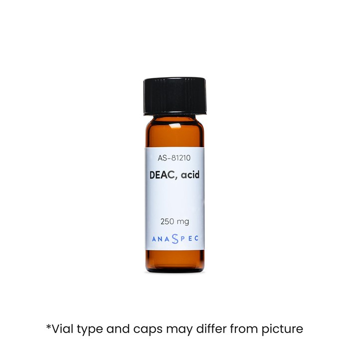 Bottle of DEAC, acid (7-Diethylaminocoumarin-3-carboxylic acid)